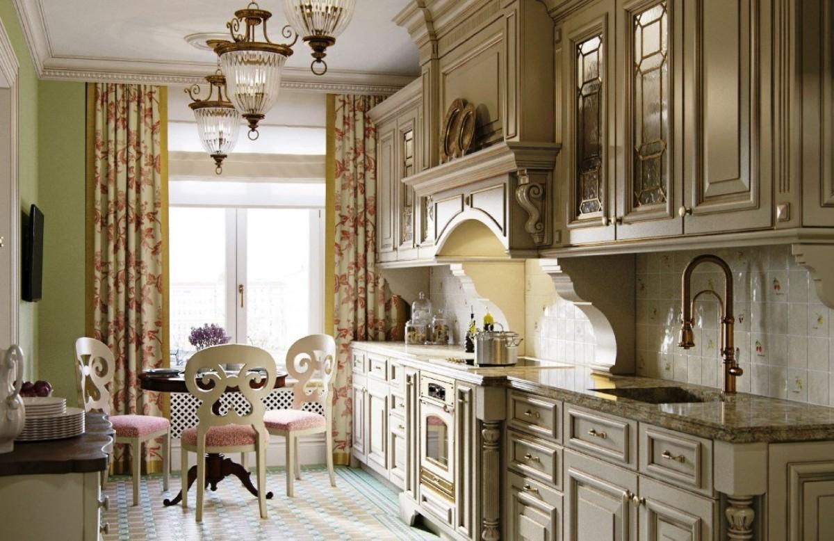 узкая кухня в классическом стиле
