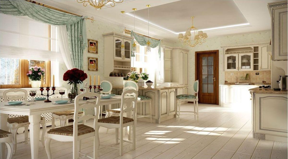 винтажный дизайн кухни гостиной в частном доме