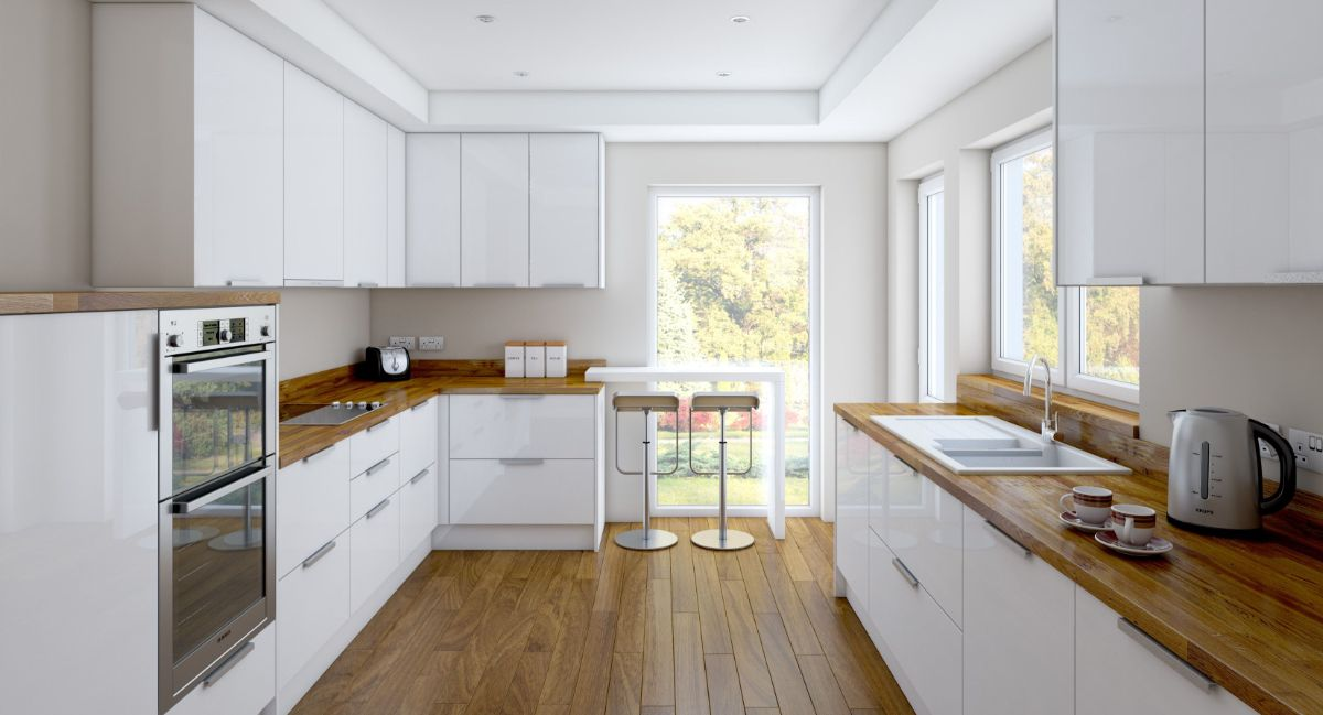 белая П-образная кухня в стиле неоклассики