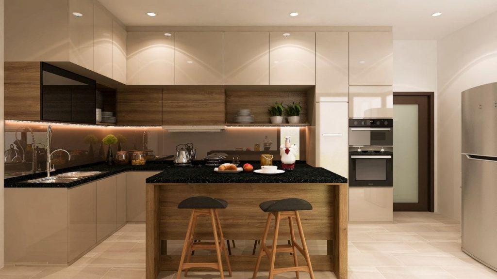 чёрная столешница для кухни в стиле модерн