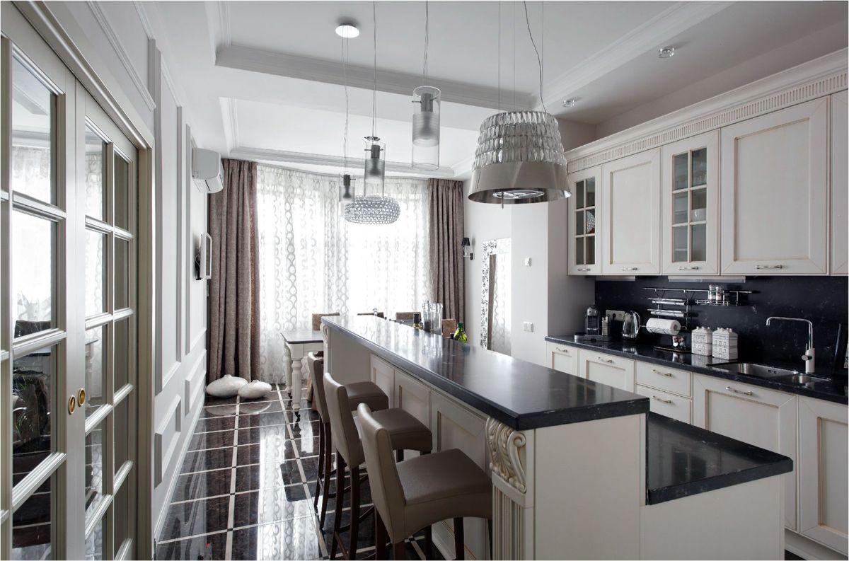 чёрно-белая кухня в стиле неоклассики фото