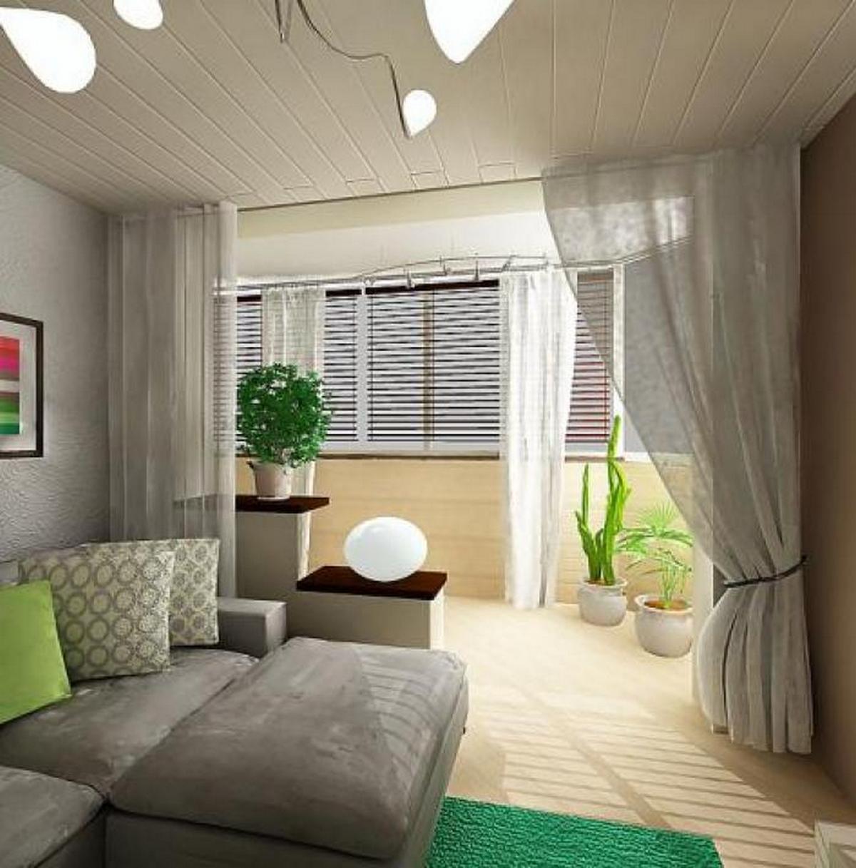дизайн комнаты с лоджией