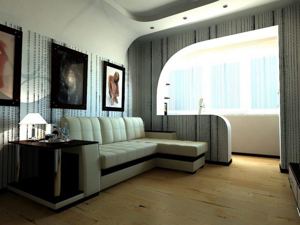 дизайн гостиной комнаты с балконом фото примеры