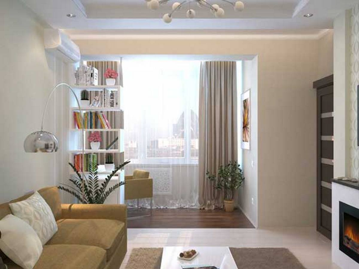 дизайн гостиной комнаты с балконом фото