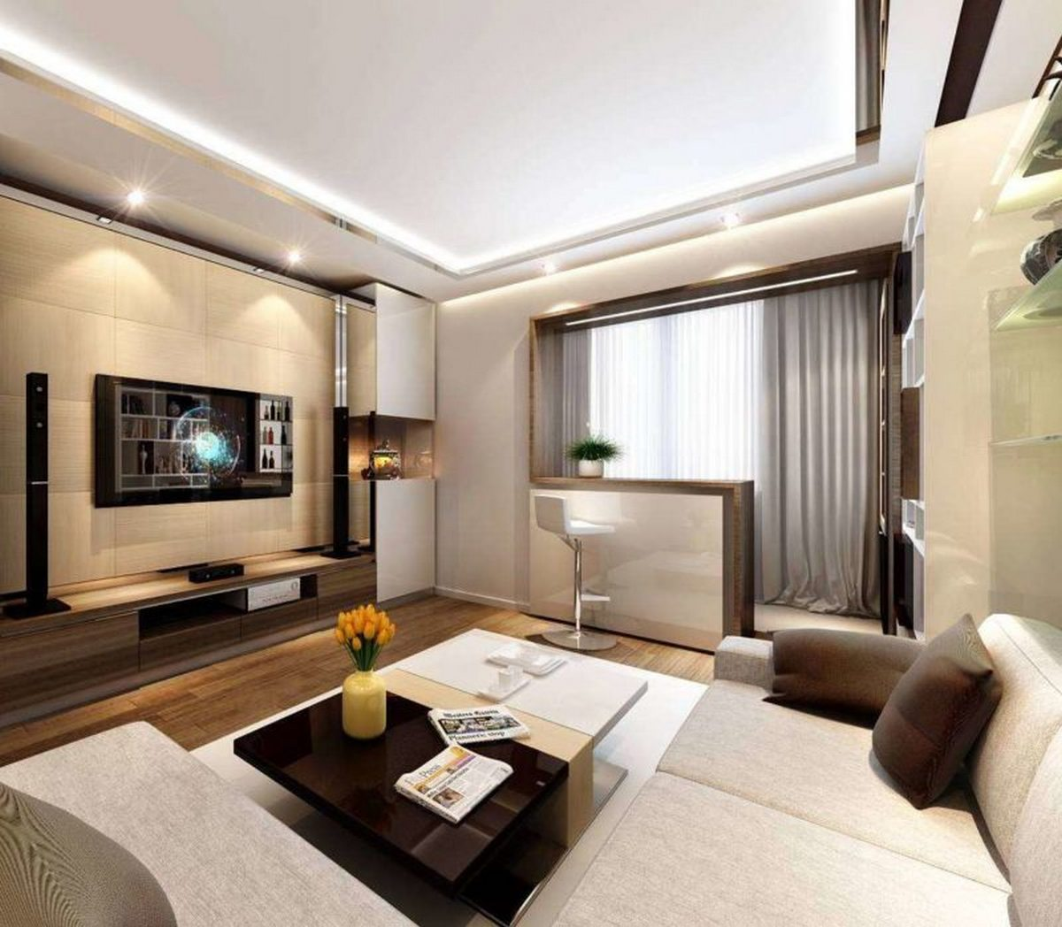 дизайн гостиной комнаты с балконом