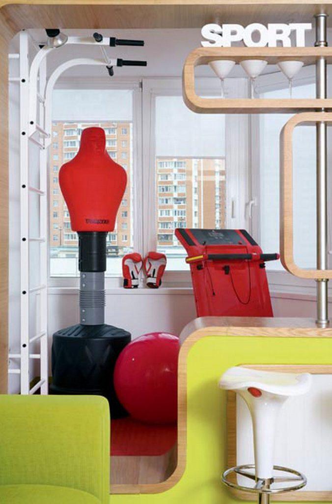 дизайн комнаты 18 м с балконом спортзал