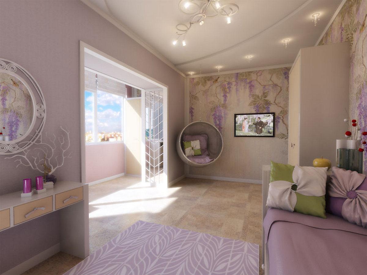 дизайн комнаты гостиной применение балкона