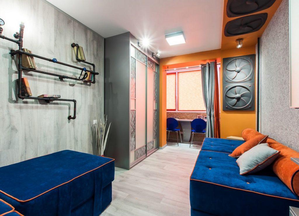 дизайн комнаты подростка с балконом примеры