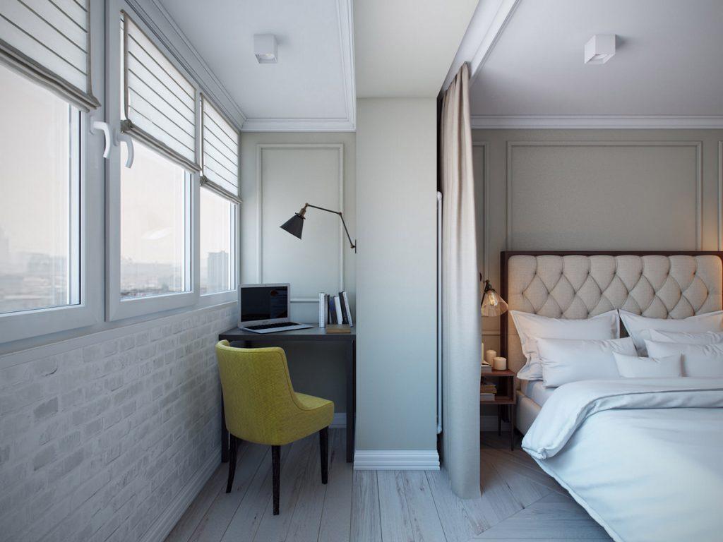 дизайн комнаты с балконом окно
