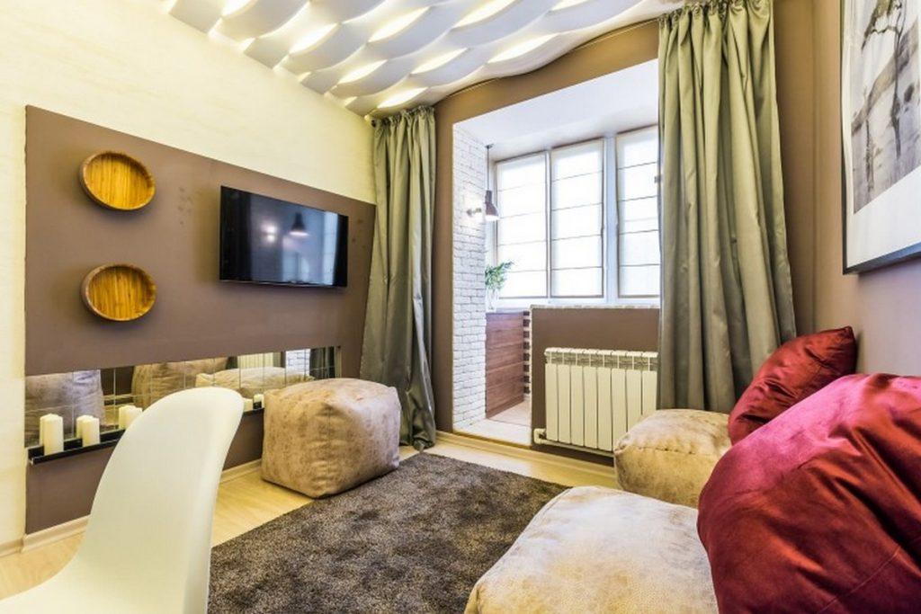 дизайн комнаты с выходом на балкон