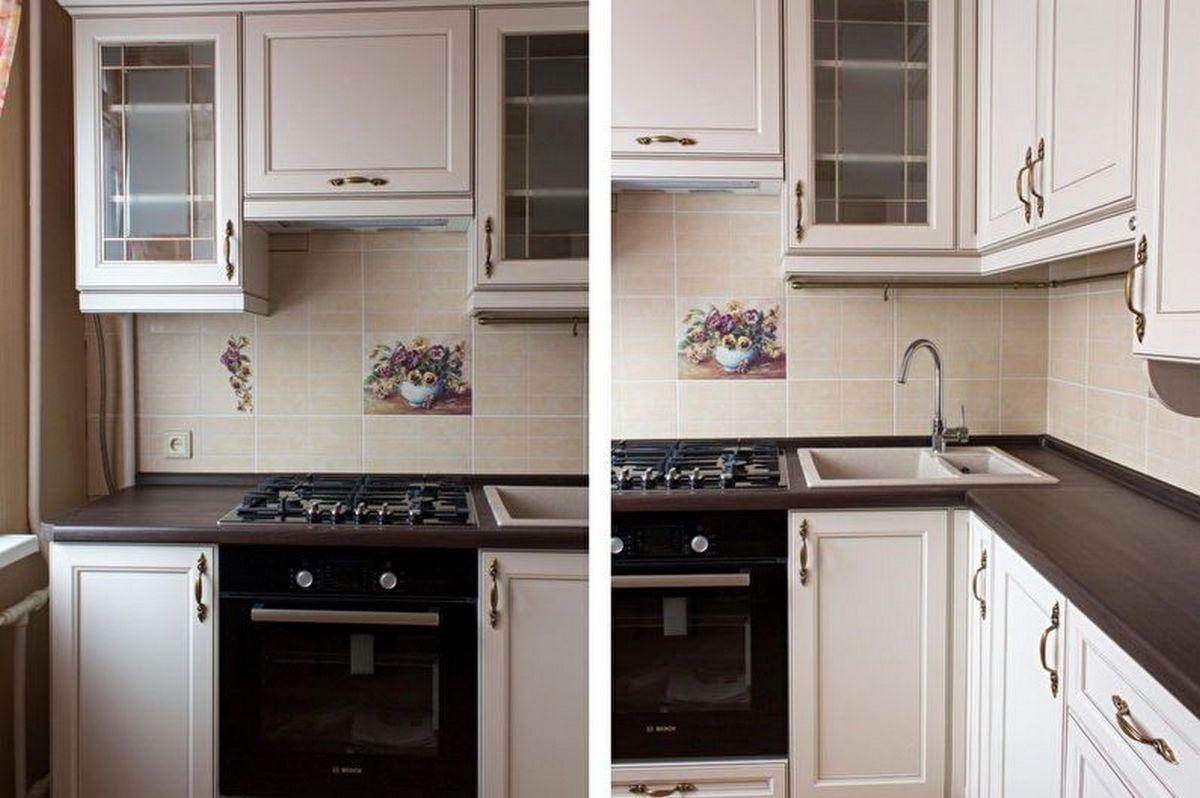 дизайн кухни 6 кв м с холодильником на фото