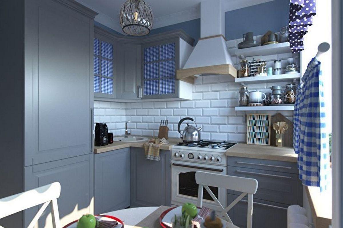 дизайн кухни 6 кв м с холодильником синяя