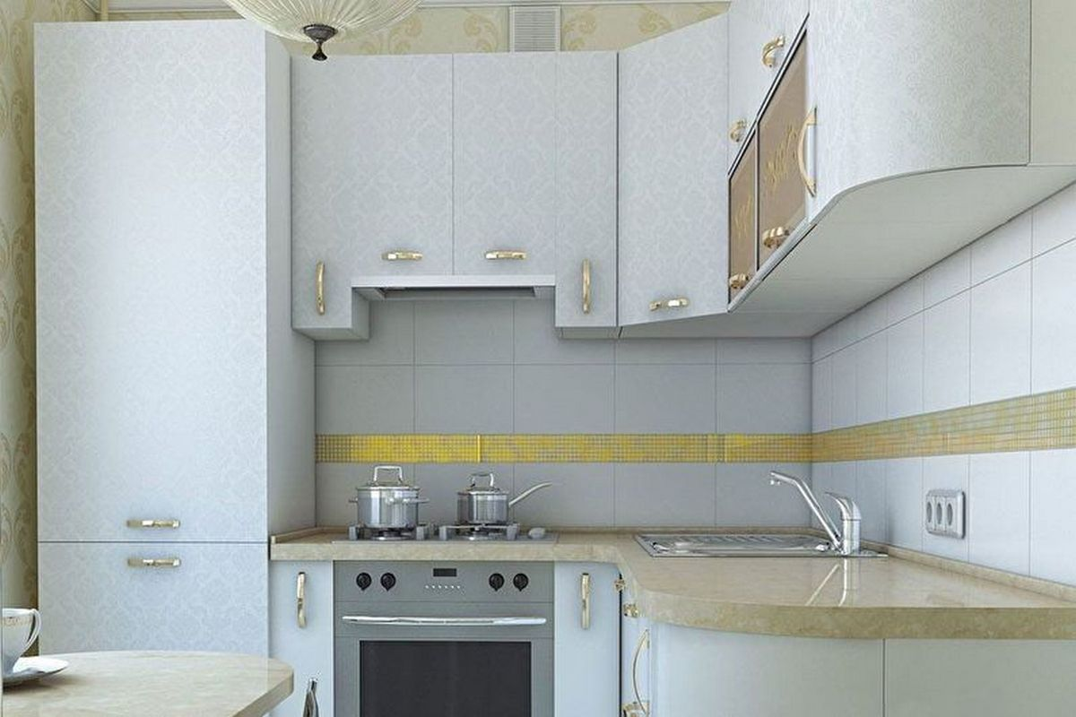 дизайн кухни 6 кв м с холодильником светлая