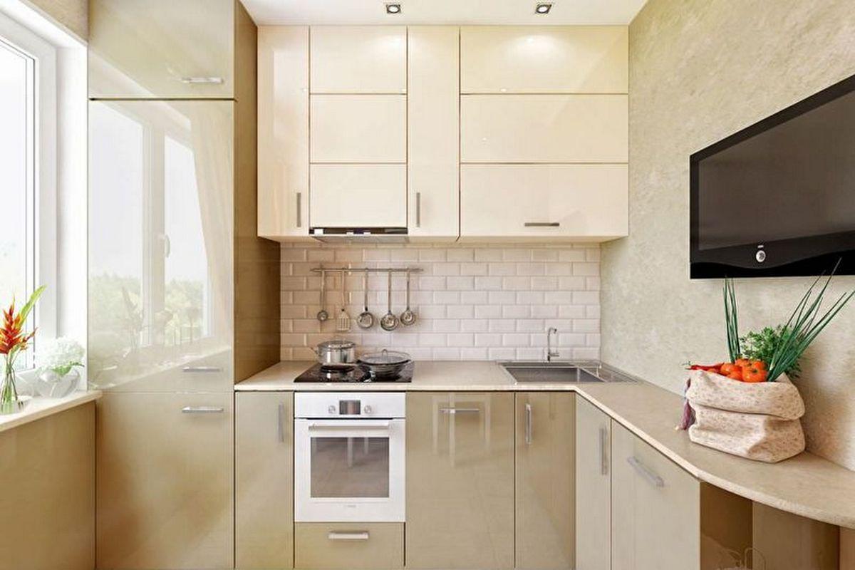 дизайн маленькой кухни 6 кв м бежевая