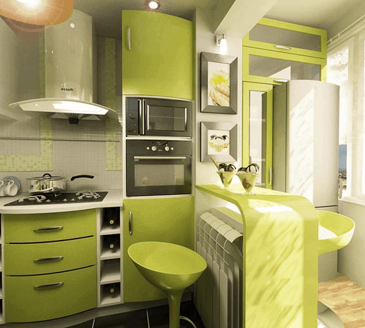 дизайн проект кухни 6 кв м салатовый