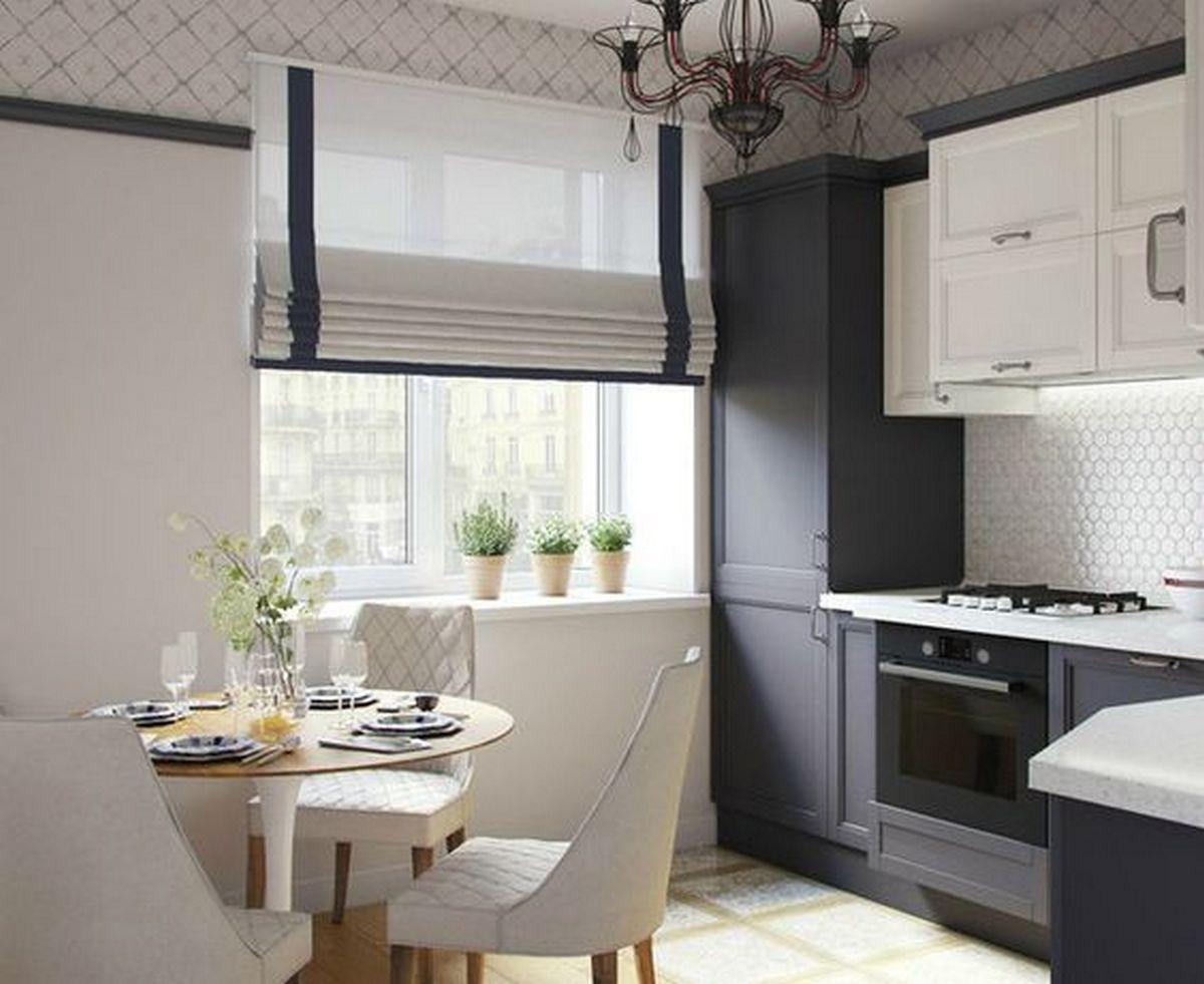 дизайн шторы для кухни чёрно-белые