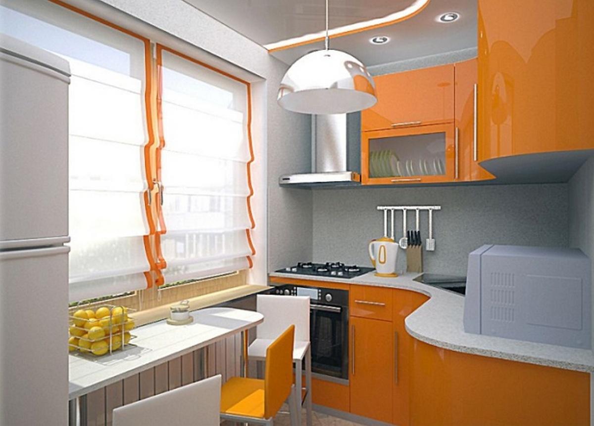 дизайн современной кухни 6 кв м оранжевая