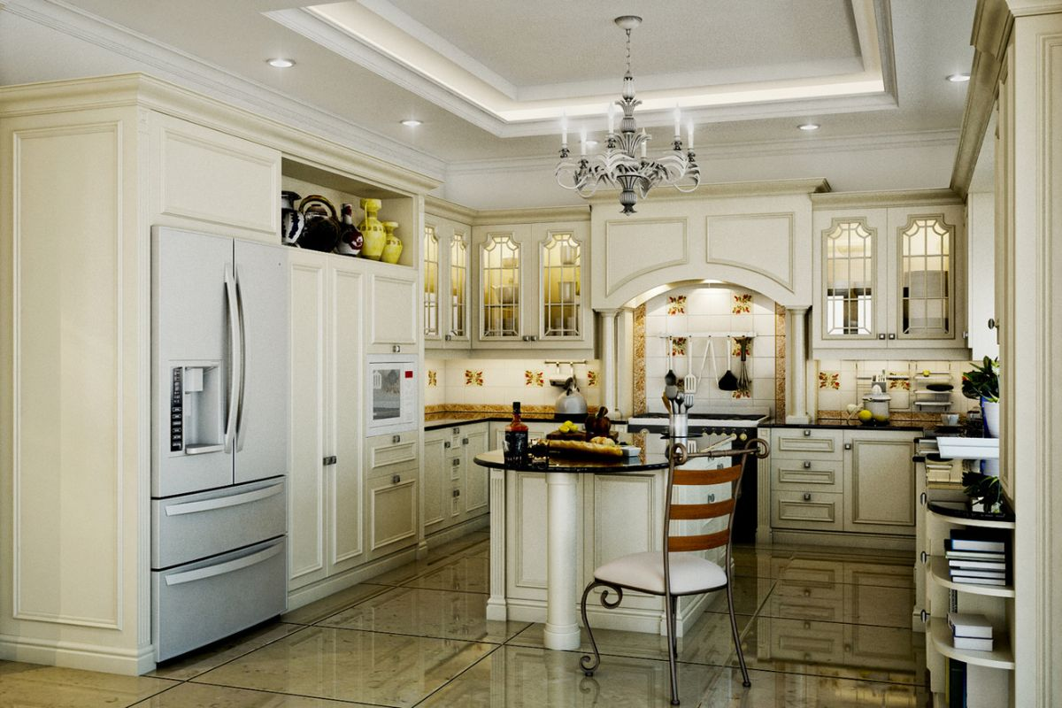 эффектная светлая кухня в стиле неоклассики