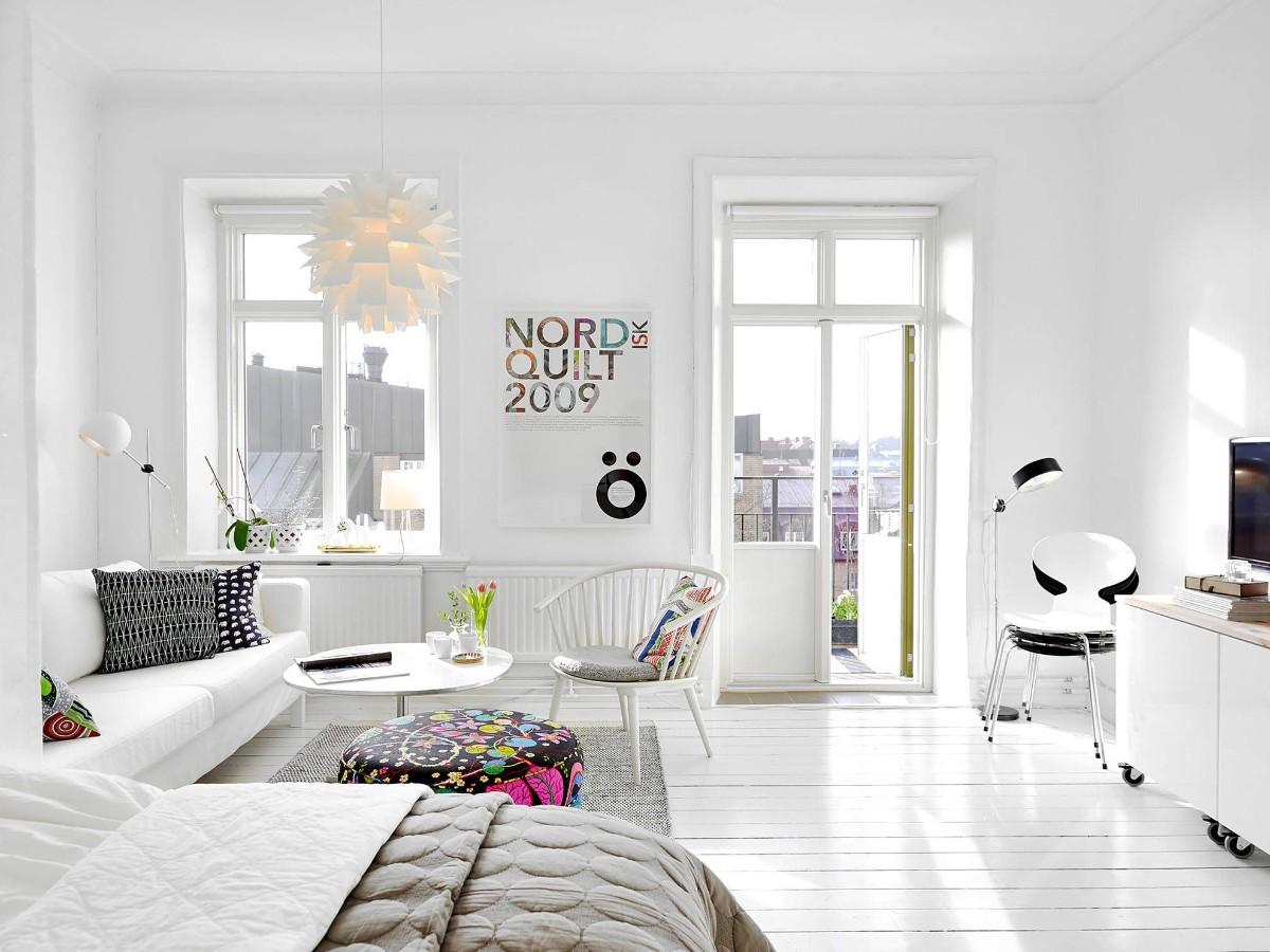 как выбрать линолеум в квартиру белый интерьер