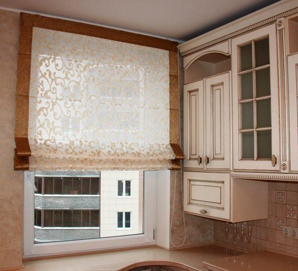 красивые римские шторы на кухню