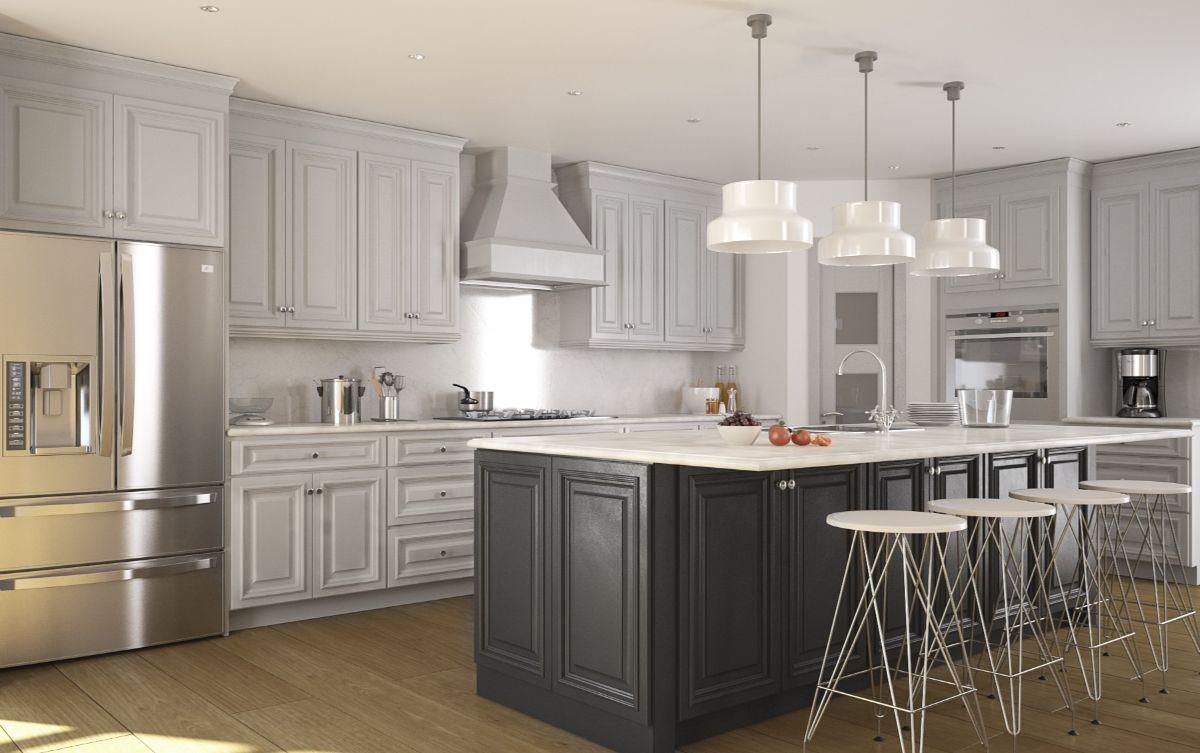 кухня в неоклассическом стиле серый и асфальтный цвета