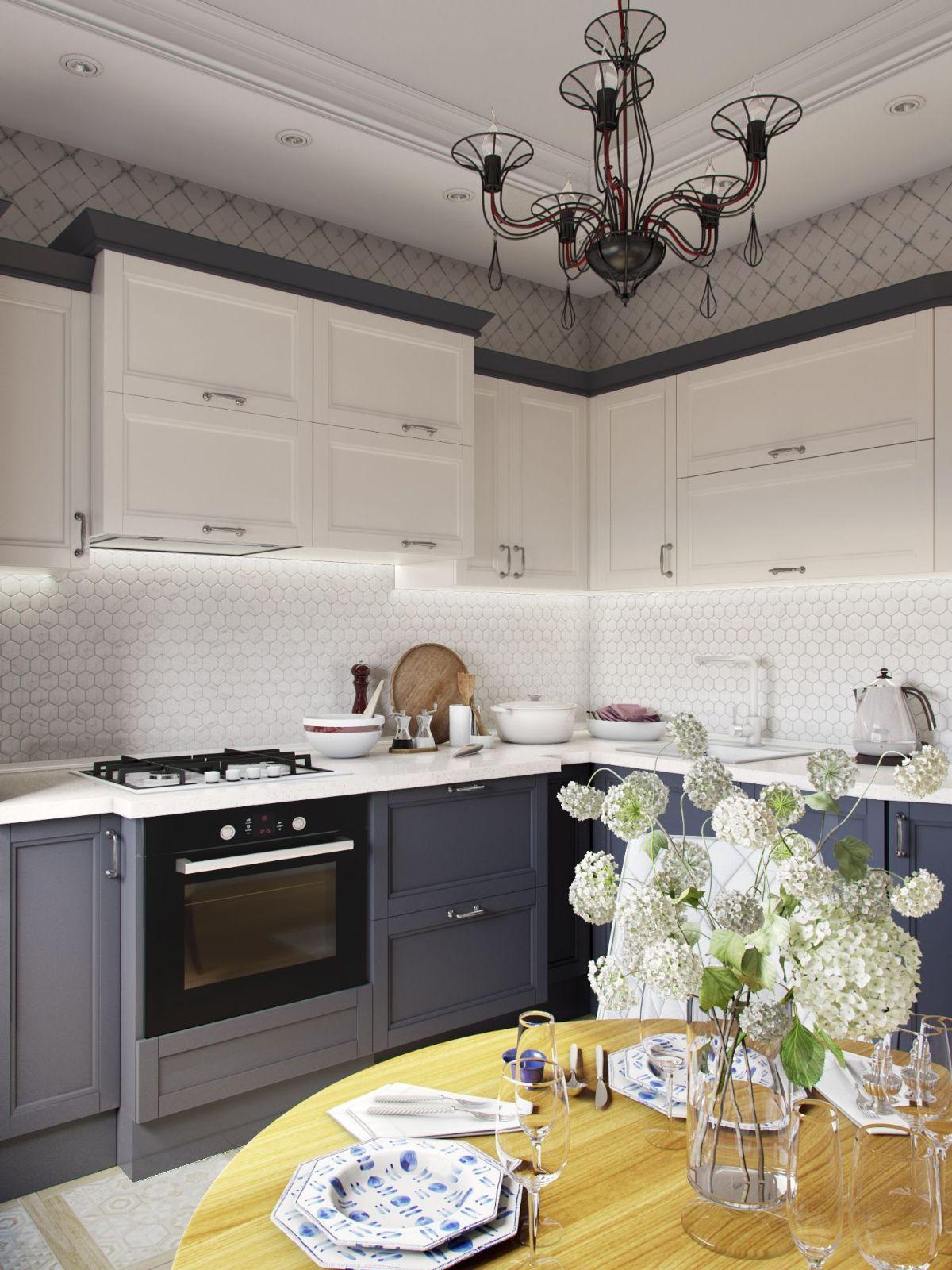 кухня в неоклассическом стиле тёмный и асфальтный цвет