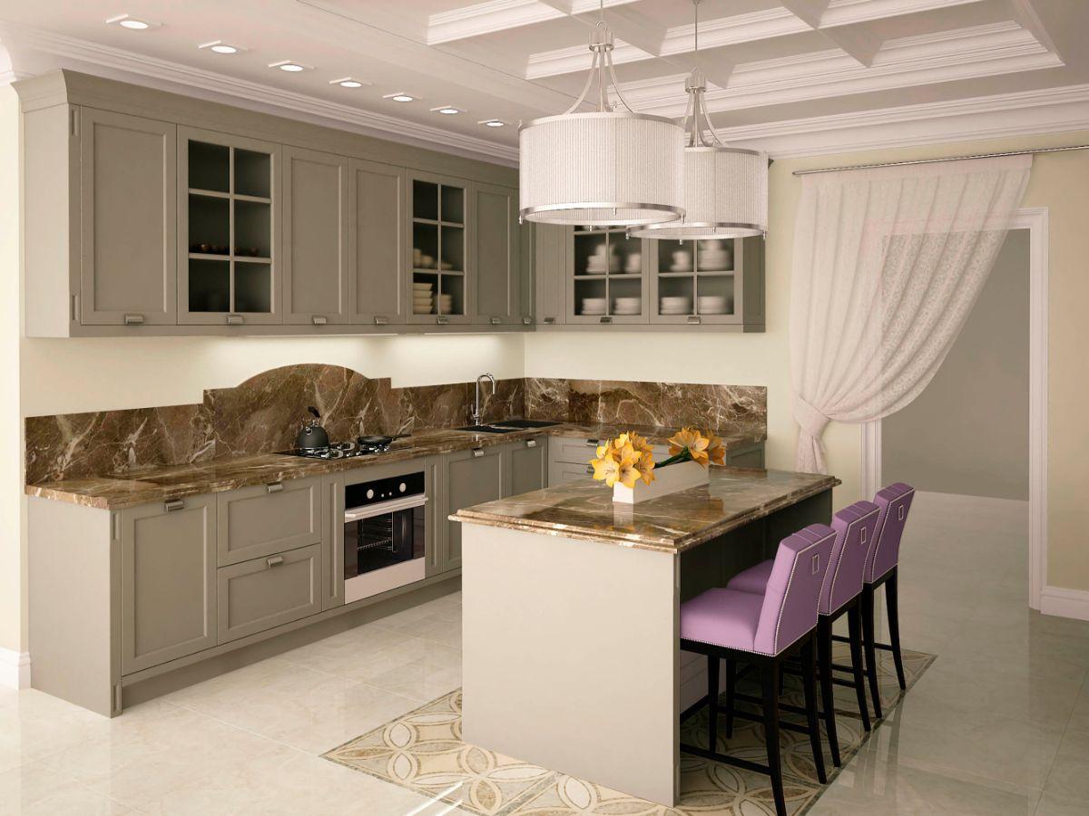 кухня в стиле неоклассика благородный серый