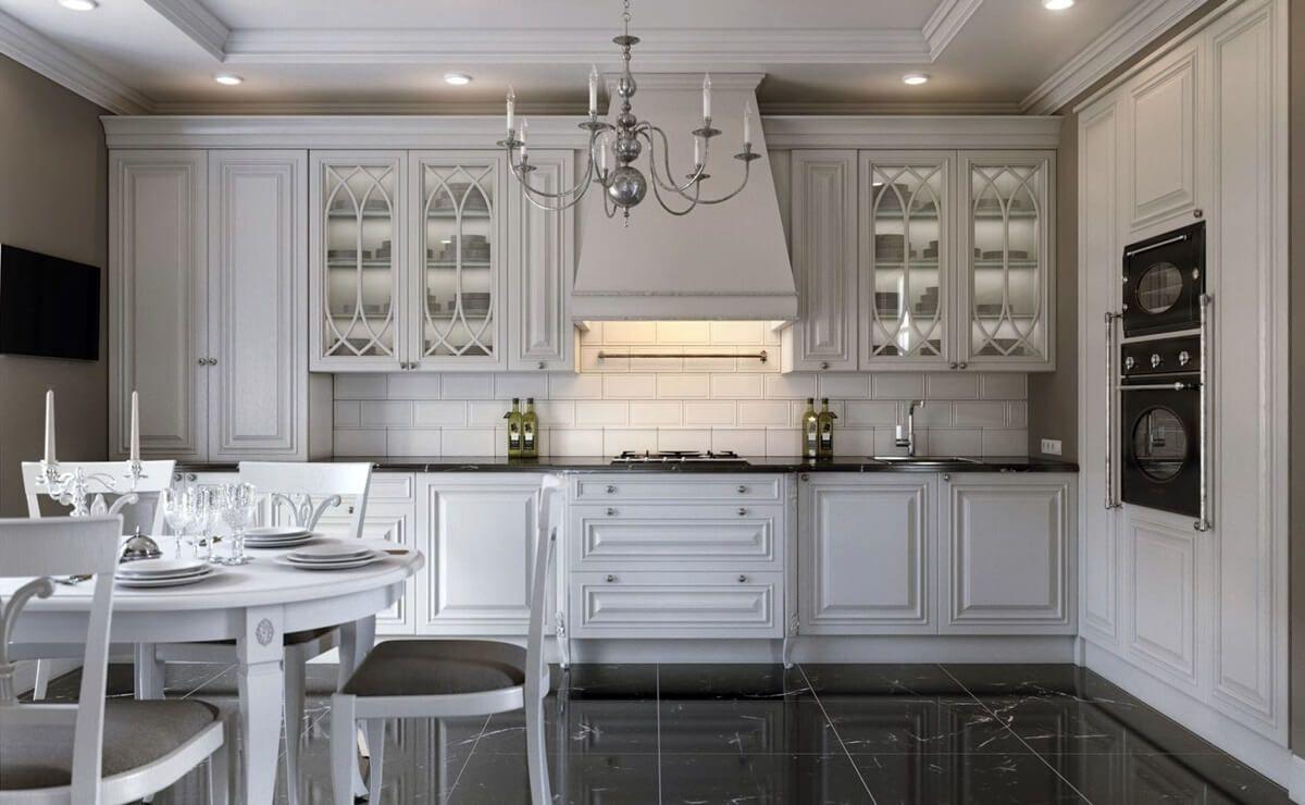 кухня в стиле неоклассики глянцевый чёрный пол