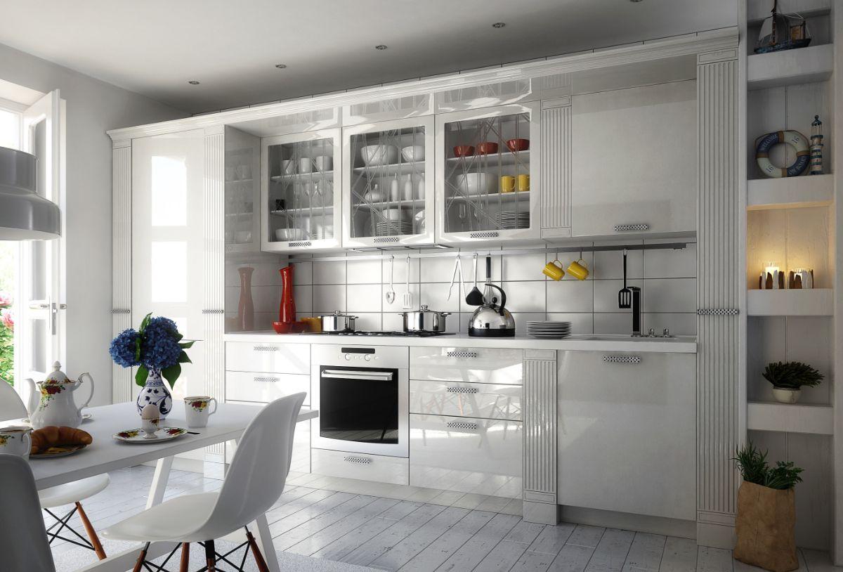 линейная кухня в стиле неоклассики