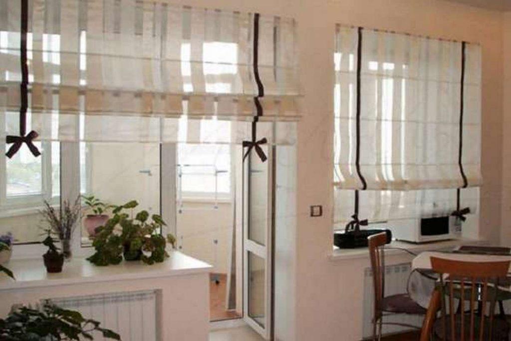 шторы на кухню 2019 на фото римские