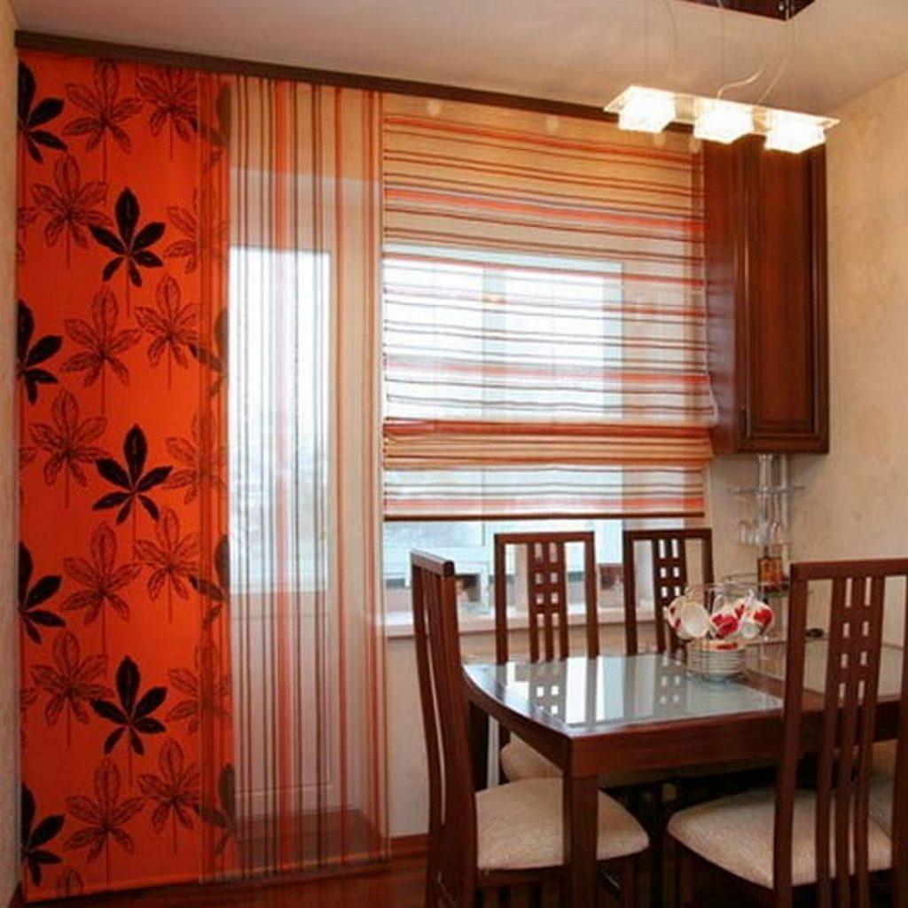 шторы на кухню фото пример комбинирование