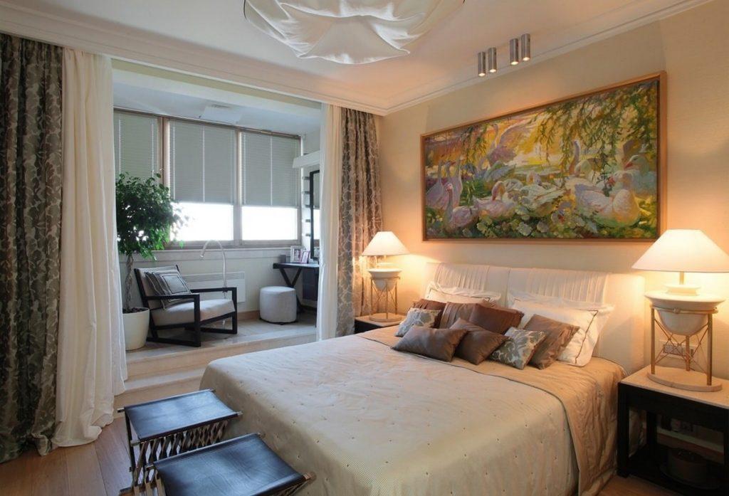 совмещение балкона с комнатой дизайн