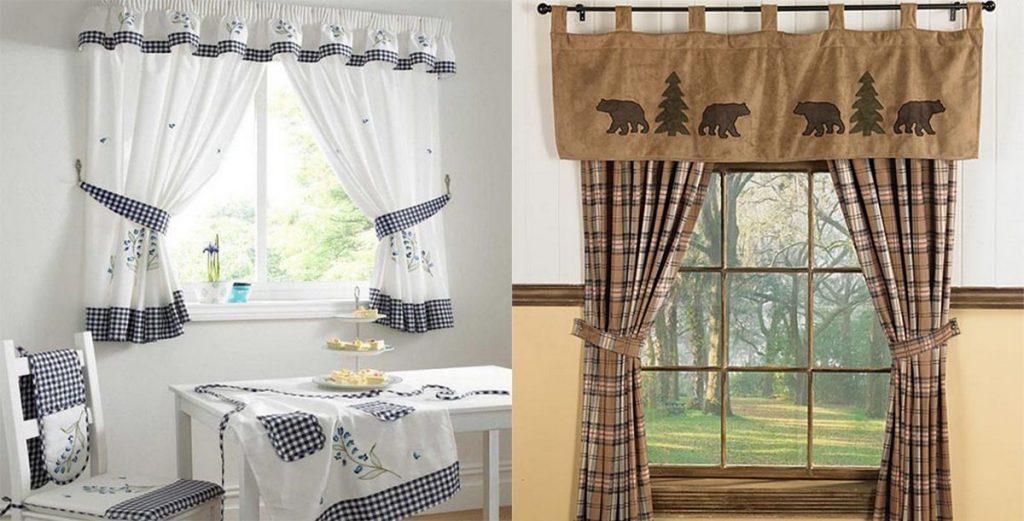 современные шторы на кухню деревенский стиль