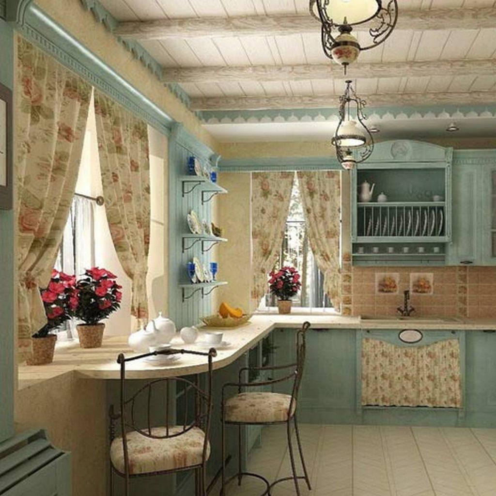 современные шторы на кухню прованс