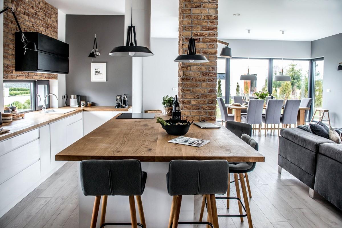 столешница из дерева для кухни в стиле лофт
