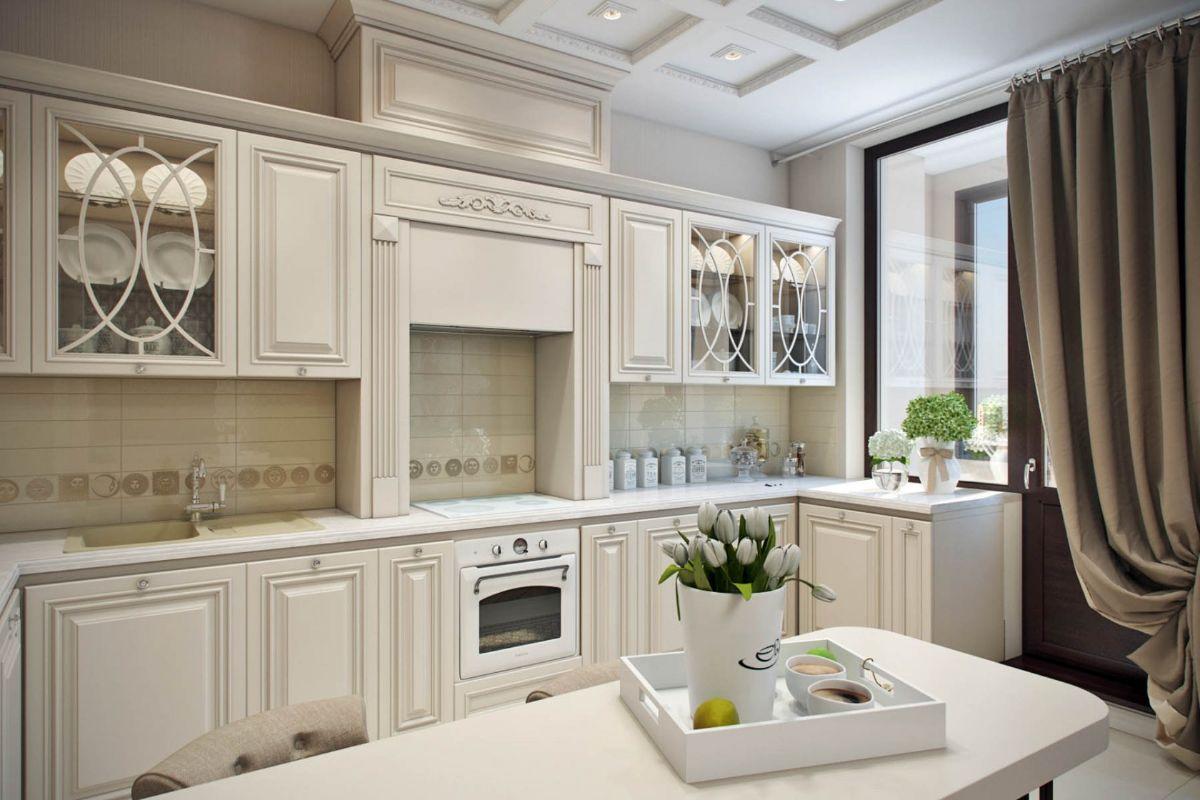 светлые кухни в стиле неоклассика