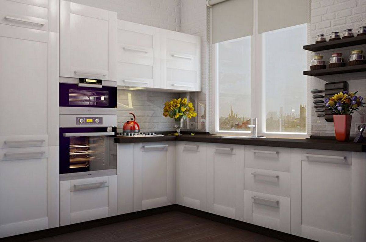 угловая кухня 6 кв м дизайн белый фасад