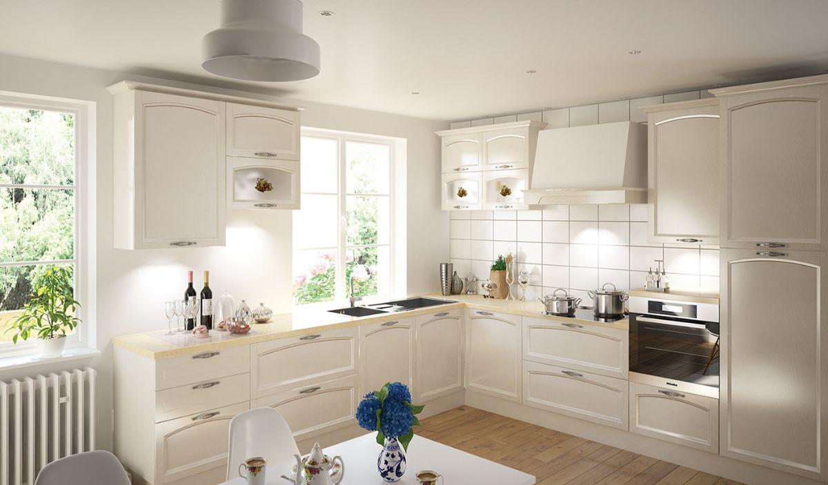 угловая кухня в неоклассическом стиле