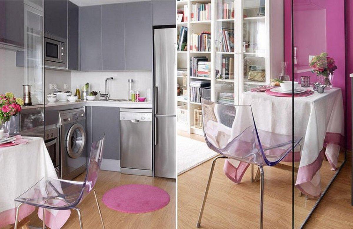 зонирование стеклянной перегородкой маленькой кухни