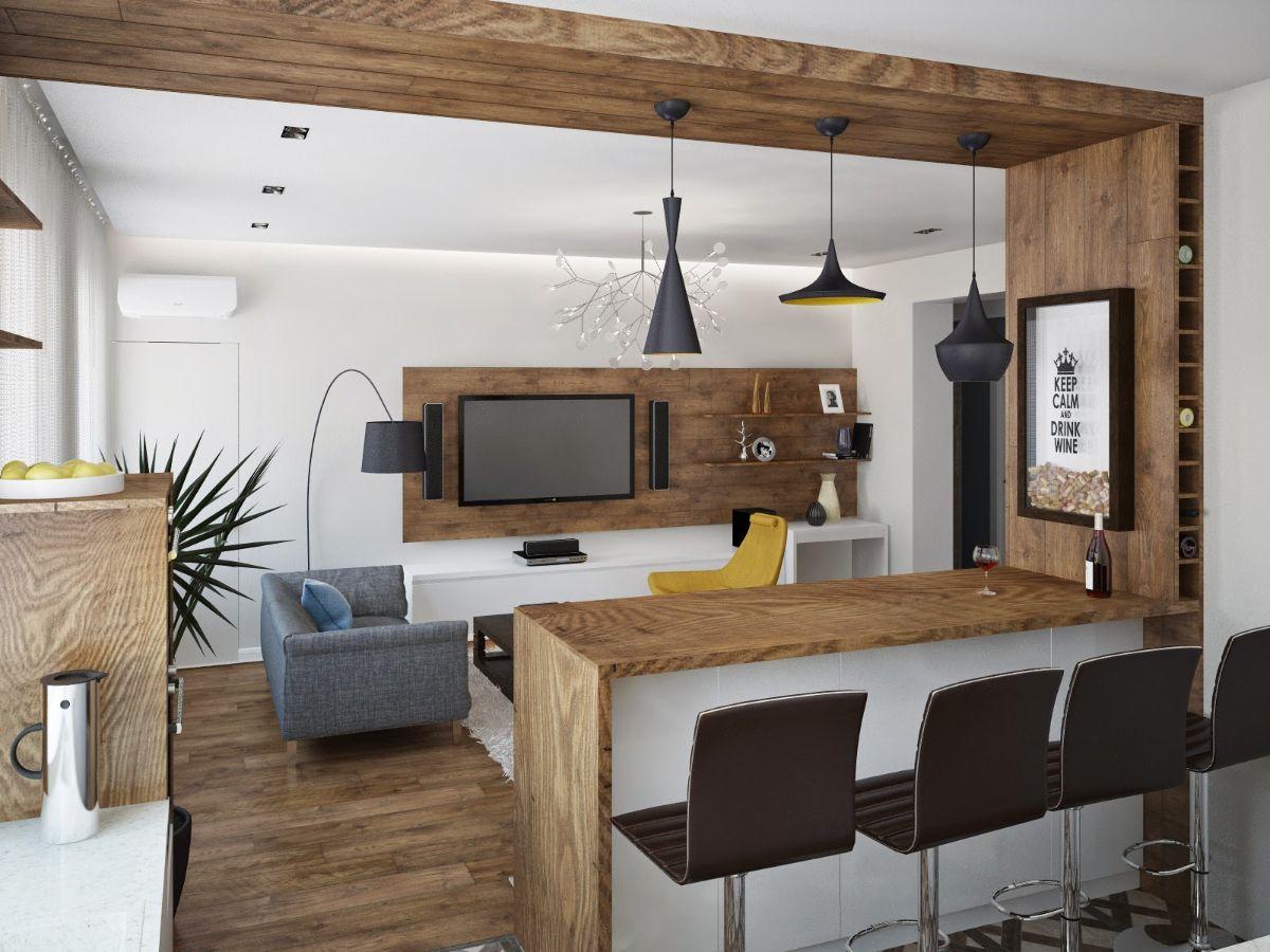 кухня гостиная дизайн интерьера с деревянными элементами в качестве разделителей зон