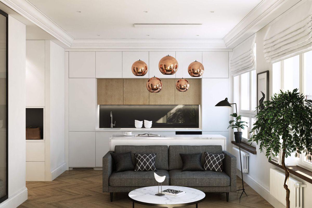 кухня гостиная дизайн интерьера в бело-серых тонах