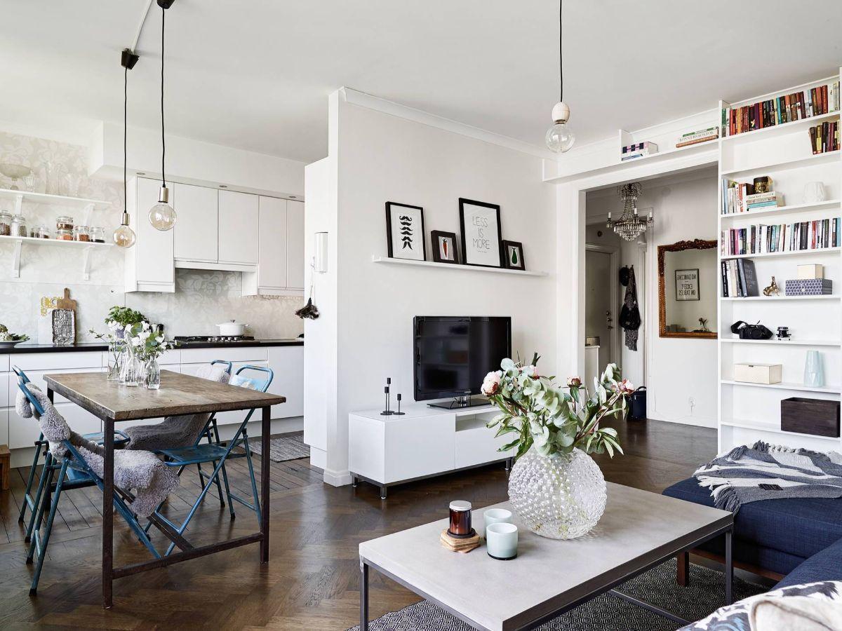 кухня гостиная дизайн интерьера в скандинавском стиле