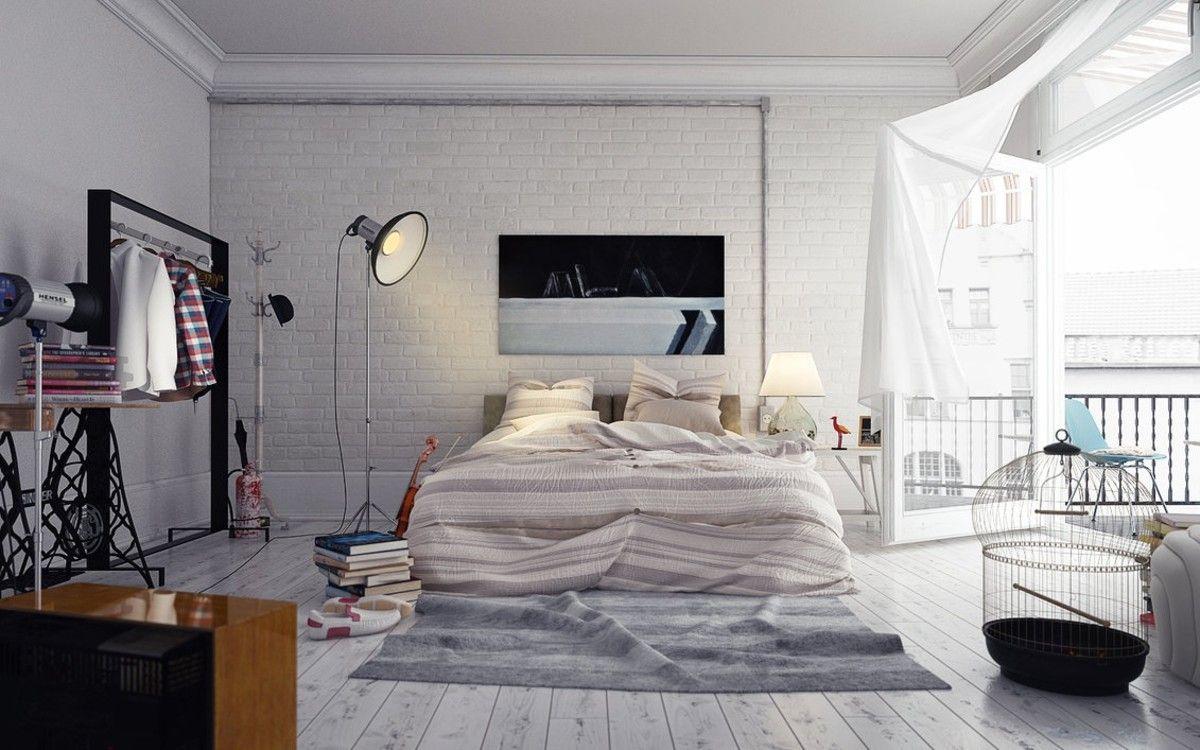 белый интерьер дизайн в стиле лофт