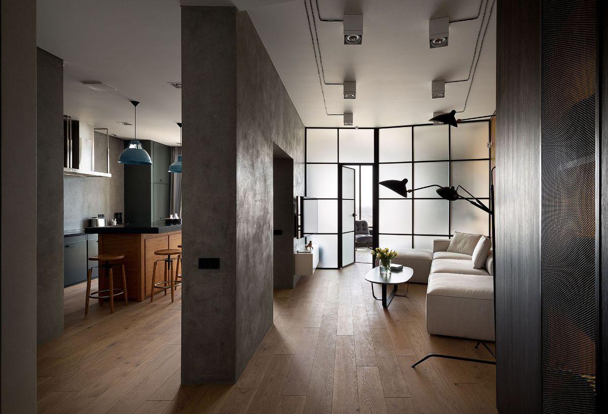 бетонная перегородка в гостиной в стиле лофт