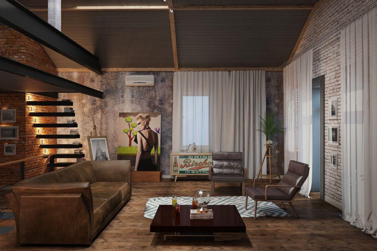богемный дизайн квартиры в стиле лофт