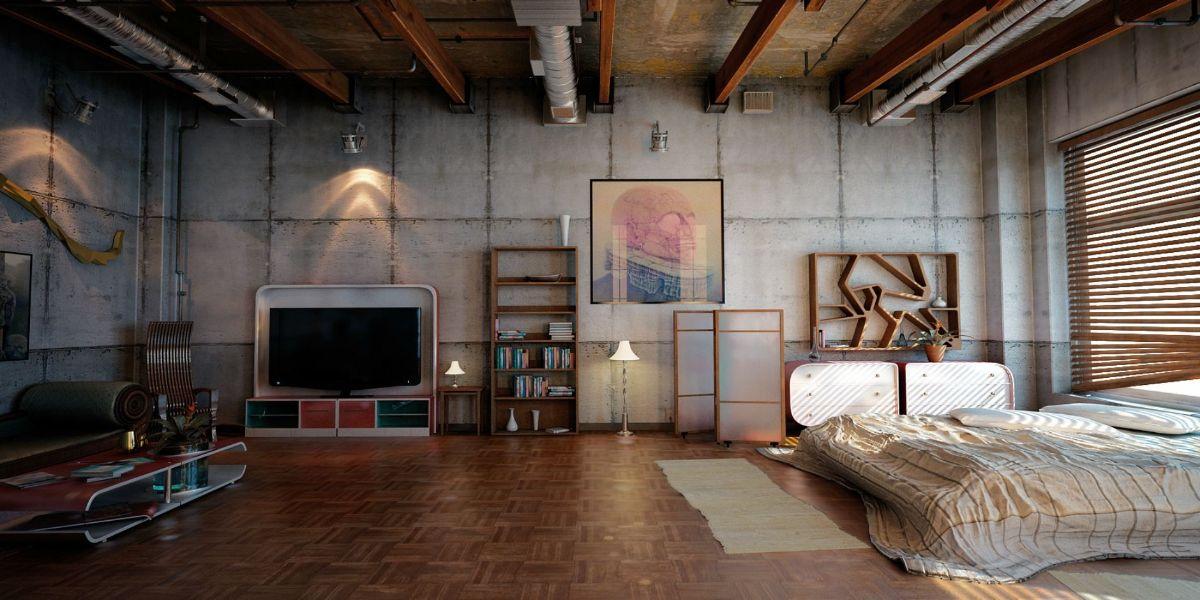 брутальный дизайн квартиры в стиле лофт