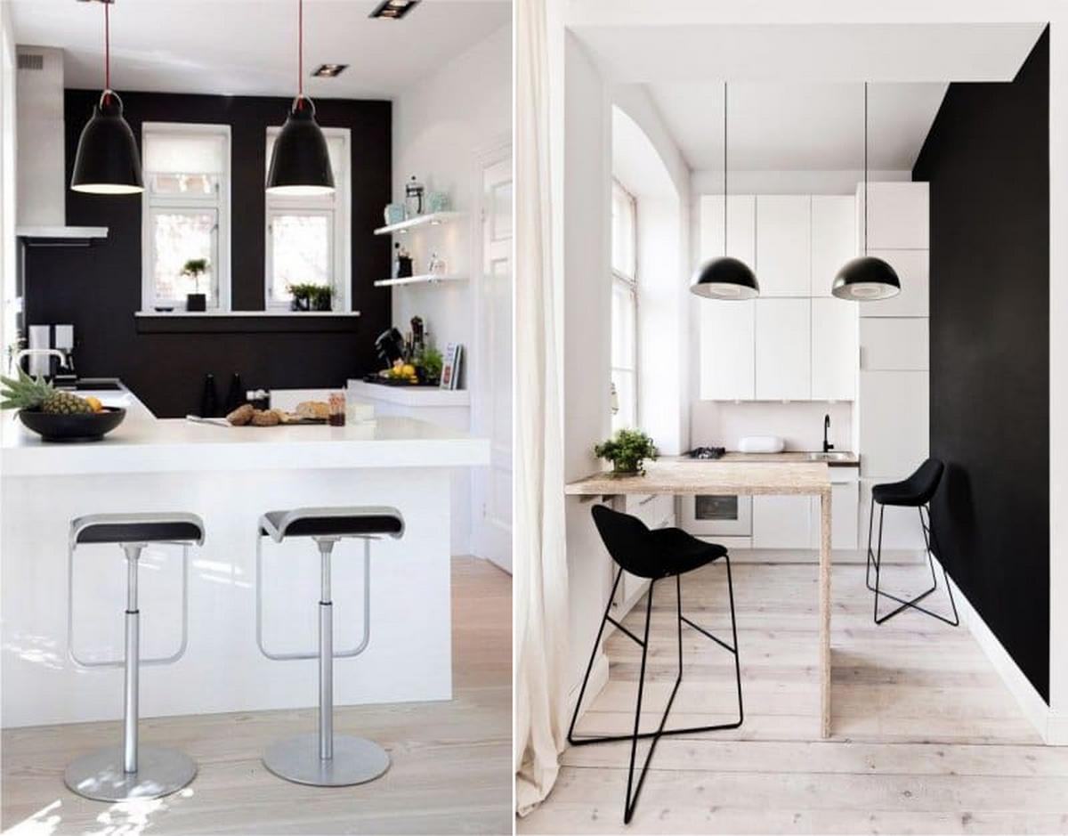 чёрные стены в маленькой кухне