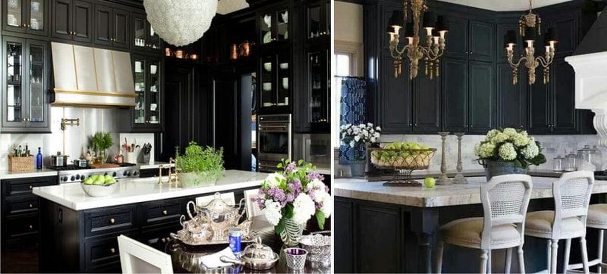 чёрный и белый цвет в интерьере кухни в классическом стиле