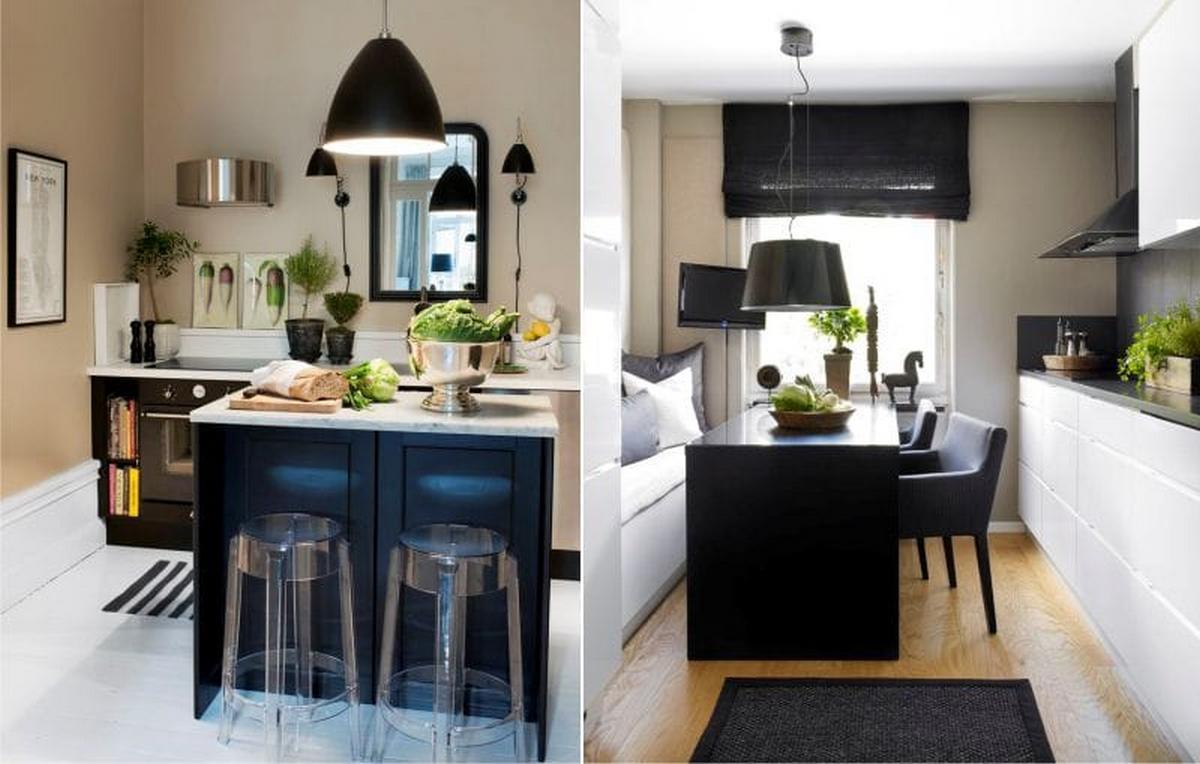 чёрный и бежевый цвет в интерьере кухни