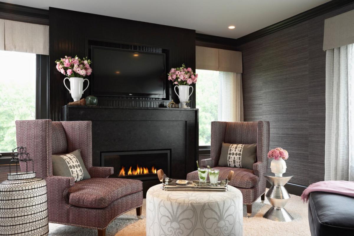 чёрный цвет в интерьере гостиной комнаты